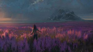 Превью обои поле, лаванда, девочка, арт, свобода