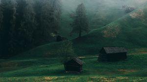 Превью обои поле, туман, ладиния, доломиты, италия