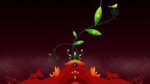 Превью обои полет, листья, яркий, природа