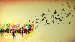 Превью обои полет, небо, бабочки, птицы, яркий
