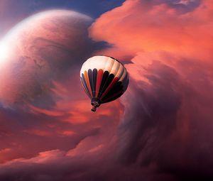 Превью обои аэростат, воздушный шар, небо, облака, полет, луна