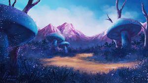 Превью обои поляна, грибы, горы, пейзаж, сказка, арт