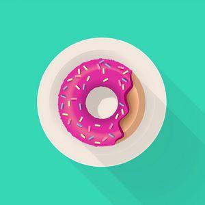Превью обои пончик, глазурь, выпечка, тарелка, арт