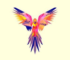 Превью обои попугай, вектор, рисунок, яркий, окрас