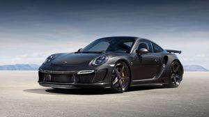 Превью обои porsche, 911, turbo, gtr, carbon edition, 991, черный