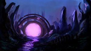 Превью обои портал, руины, свечение, арт, фиолетовый