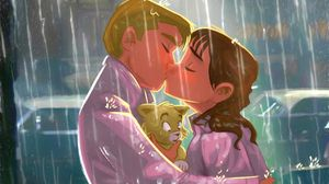 Превью обои поцелуй, пара, арт, любовь, котенок, дождь