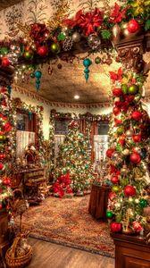 Превью обои праздник, рождество, украшения, игрушки, елка