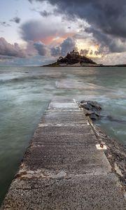 Превью обои пристань, море, остров, облака, пейзаж