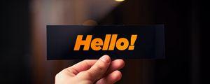 Превью обои привет, слово, карточка, рука