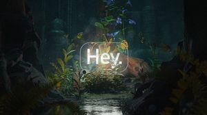 Превью обои приветствие, слово, неон, свет, пещера, цветы