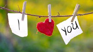 Превью обои признание, любовь, прищепки, веревка