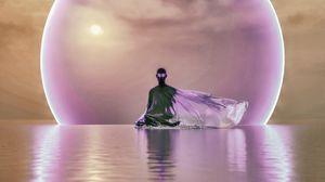 Превью обои призрак, медитация, вода, сфера