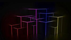 Превью обои пространство, свет, линии, фигуры, неон