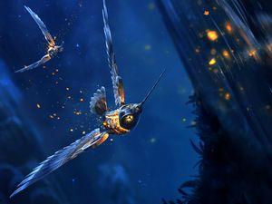 Превью обои птица, фантастический, полет, свечение, арт