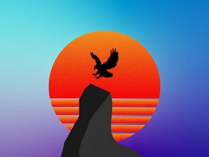 Превью обои птица, силуэт, гора, вектор, арт