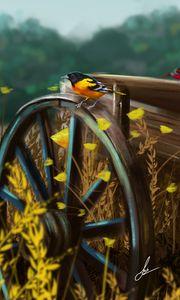 Превью обои птица, телега, колесо, природа, арт