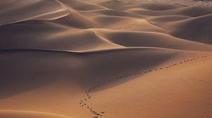 Превью обои пустыня, дюны, песок, следы, пейзаж