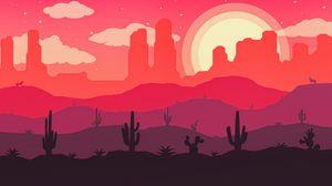 Превью обои пустыня, кактусы, солнце, волк, вектор