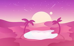 Превью обои пустыня, пальмы, оазис, вектор, арт, розовый