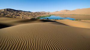 Превью обои пустыня, песок, узоры, линии, оазис, озеро, берега, растительность