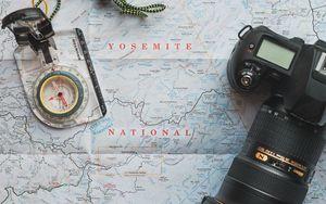 Превью обои путешествие, карта, компас, фотоаппарат