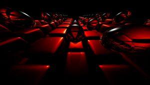 Превью обои пузыри, квадраты, отражения, красный, темный, 3d