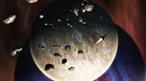 Превью обои ракета, планеты, метеориты