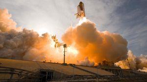 Превью обои ракета, полет, небо, дым