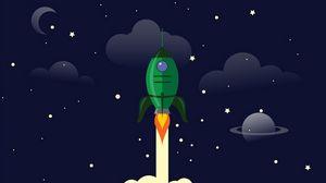 Превью обои ракета, запуск, космос, арт