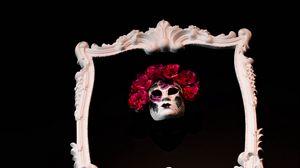 Превью обои рамка, маска, цветы, черный