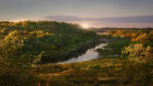 Превью обои рассвет, солнце, свет, утро, деревья, лес, берега, трава, кустарники, пробуждение