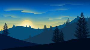 Превью обои рассвет, солнце, вектор, холмы