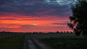 Превью обои рассвет, восход, горизонт, дорога, облака, утро, трава, небо