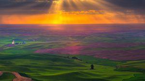 Превью обои равнина, дорога, поля, зелень, небо, солнце, свет, облака