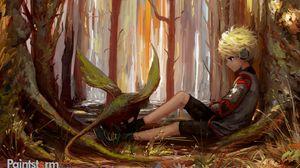 Превью обои ребенок, арт, одиночество, лес, деревья