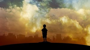Превью обои ребенок, арт, планета, облака, город