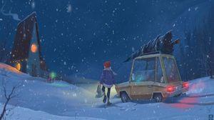 Превью обои ребенок, автомобиль, арт, зима, снегопад