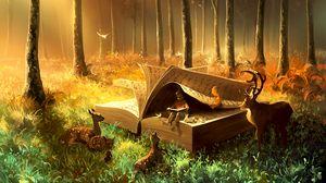Превью обои ребенок, книга, звери, сказочный