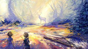 Превью обои ребенок, олень, арт, охота
