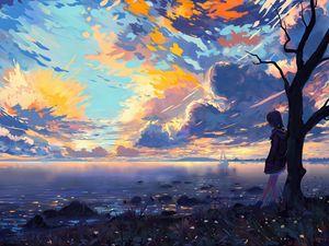 Превью обои ребенок, река, мечты, берег, дерево, арт