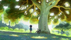 Превью обои ребенок, велосипед, дерево, природа, арт