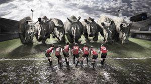 Превью обои регби, команда, носороги, грязь, поле