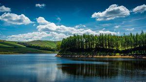 Превью обои река, деревья, лето, течение, берег