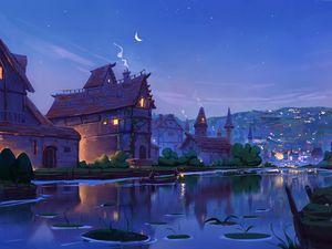 Превью обои река, дома, арт, вечер, сказочный