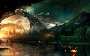 Превью обои река, домик, арт, ночь, звездное небо, фантастический