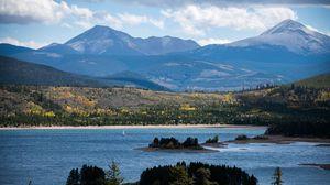 Превью обои река, горы, деревья, острова, природа