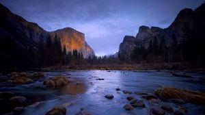 Превью обои река, горы, камни, деревья