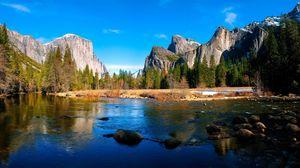 Превью обои река, горы, пейзаж