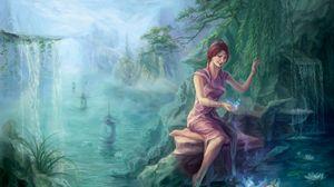 Превью обои река, камень, девушка, младенец, волшебство